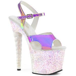 "Pleaser 7"" opal glitter uniform heel stripper shoes"