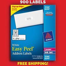 "900 Avery Address Mailing Labels 5160 / 6240 Laser/Inkjet 30 Sheets ""1 x 2 5/8"""
