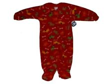 WONDER KIDS Long Sleeve Fleece Pajamas Sleeper Red with Puppy Dogs 12 Months NWT