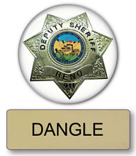 "RENO 911 DANGLE NAME BADGE & Lieutenant 3"" BUTTON HALLOWEEN COSTUME PIN BACK"