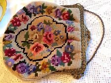 SUPERB VINTAGE 1930's - 40's HAND EMBROIDERED NEEDLEPOINT TAPESTRY EVENING BAG