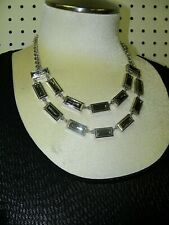 WHITE HOUSE BLACK MARKET SILVER NECKLACE W/ GRAY JEWELS --- STUNNING --- NWT