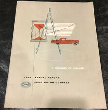 1955 Ford Motor Company A Decade of Growth Investment Shareholders Report Book