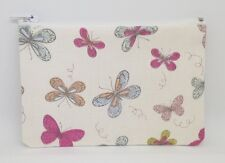 Gorgeous Pastel Butterflies Fabric Handmade Zippy Coin/Card Purse Storage Pouch