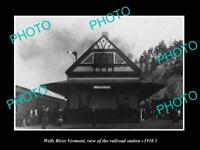 OLD LARGE HISTORIC PHOTO OF WELLS RIVER VERMONT, THE RAILROAD STATION c1910 2
