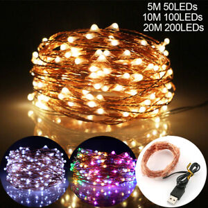 50/100/200LED DIY Micro Copper Wire Fairy String Lights Party Decor USB Plug In