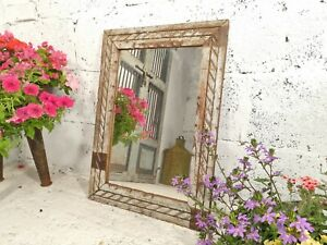 Vintage Rustic Hand Made Reclaimed Indian Solid Wooden Carved Wall Mirror