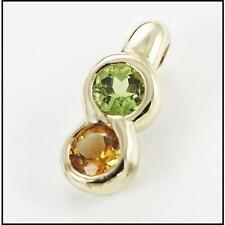 Stunning 9ct Yellow Gold Peridot and Citrine Gemstone Pendant