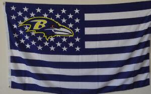 Baltimore Ravens USA Stars and stripes  Flag Deluxe Banner 3'x5'Feet