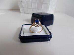 14 kt Verlobungsring, Saphir Ring mit Brillanten aus 585 Gelbgold RG. 58 / 18,4