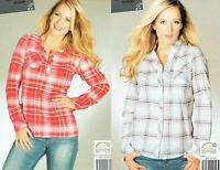 Damen Bluse Hemd Shirt kariert aufkrempelbare Ärmel Öko-Tex