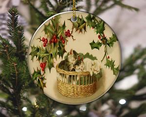 Vintage Style Cute Kittens Sleeping Mistletoe Christmas Ornament, Christmas Gift