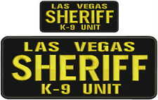 Las Vegas Sheriff k9 unit embroidery patches 4x10 and 2x5 hook on back gold