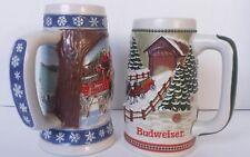 Budweiser Beer Stein Mug Cup Holiday Christmas Collectors Series Lot Bundle