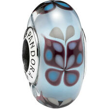 Authentic Genuine Pandora Blue Butterfly Silver Murano Glass Charm Bead - 791622