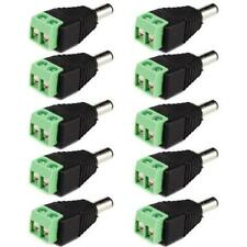 10pcs DC Power Male Jack Adapter Cable Plug Connector 5.5 x 2.1mm for CCTV / LED