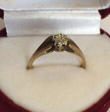 Vintage 9ct Solid Gold Hallmarked 375 Illusion Set Diamond Solitaire Ring Size N