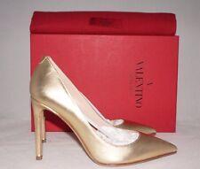 NIB VALENTINO Gold Metallic Leather Point-Toe Pump Heel Studded Shoe 6 US 36 EU