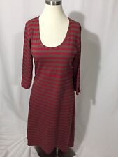 Horny Toad Red Olive Brown Striped Organic Stretch Dress Hi Low Hem S Excellent