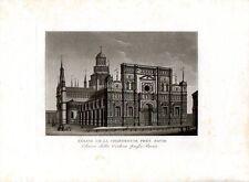 Stampa antica Veduta CERTOSA di PAVIA acquatinta 1829 Old print