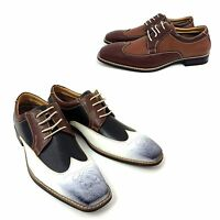 Mens Wing Tip Dress Shoes Lace Up Oxfords Leather Lined Casual Italy Style Sizes