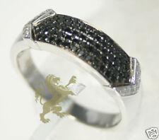 0.60ct Mens 14KT White Gold Black Diamond Wedding Band Ring