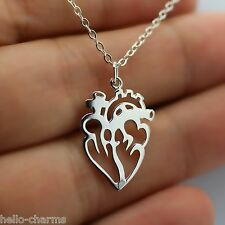 ANATOMICAL HEART CHARM NECKLACE - 925 Sterling Silver Heart Love Necklace RN NEW