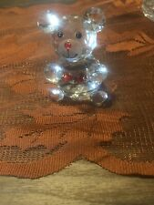 crystal figurines Teddy Bear With Red Bow Tie.