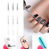3PCS Nail Art Pen Dotting Painting Drawing UV Gel Liner Polish Brush Tool Set US