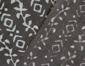 African Print Grey Running Craft Fabric 100% Cotton Bagru Kashish Block Printed