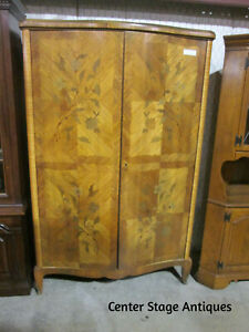 54470   Antique French Inlaid Armoire Satinwood Wardrobe Cabinet