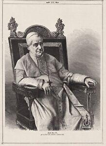 Vatikan, Pabst Pius IX. - Porträt, Stich, Holzstich 1878