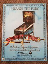 1988 Williams Swords Of Fury Pinball Flyer