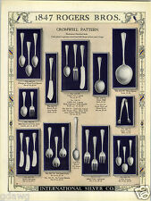1923 PAPER AD 2 Sided 1847 Rogers Bros Silverware Cromwell Design Pattern