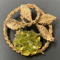 Vintage Peridot Chip Brooch Pin Faux Seed Pearl Brushed Gold Tone Round Leaf