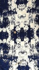 Viscose Lycra jersey fabric Material - Ivory with Denim Blue Tie-Dye print