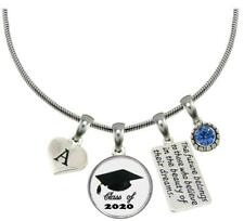 Custom Class of 2020 Graduation Hat Silver Necklace Gift Choose Initial & Color