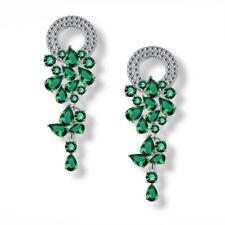 OPK Luxury Jewelry  Emerald Green Topaz Gems Silver Dangle Drop Earrings Wedding