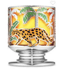 BATH & BODY WORKS JUNGLE CRITTERS CHEETAH PALM TREES 3 WICK CANDLE HOLDER NEW