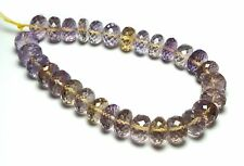 """7"""" Strand AMETRINE 9.5-10mm Faceted Rondelle Beads AAA NATURAL /R1"""