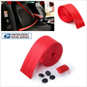 Universal Red Racing Car Front 3 Point Retractable Adjustable Safety Seat Belt