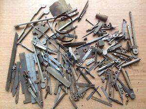 Clockmakers Metal Scrap Box Contents Tool Parts Bits And Pieces ref 3