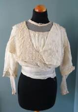 Antique Edwardian Ladies Floral Embroidered Silk & Lace Bodice Blouse c1905