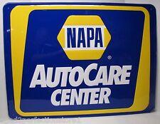 Orig NAPA AutoCare Center Sign embossed raised auto gas oil Bright Blue Yellow