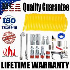20Pcs Air Compressor Accessory Kit Tool 25Ft Recoil Hose Gun Tire Nozzles Set Us