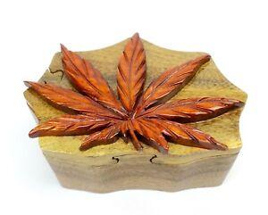 Pot Leaf Wood Puzzle Box Handmade Marijuana Jewelry Trinket Decorative Box