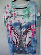 C Mode Women's Tie Dye Rhinestone Eiffel Tower Floral Tunic Top Plus Sz 1X 16/18
