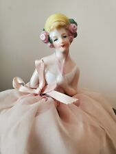 antique German Half Doll pincushion lady, pink tulle skirt with lace trim