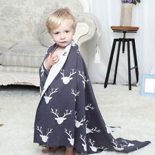 100% Cotton Kids Children Baby Knitted Reversible Blanket Pram Throw Rug Nursery
