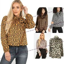 Womens Ladies Animal Fendi Snake Leopard Print Tie Up Pussy Bow Blouse Shirt Top